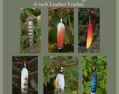 CUSTOM - 6-inch Leather Feather Pendant - Bird Feather Necklace