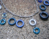 Eco-Friendly Statement Necklace  - Waterfall - Recycled Vintage Chain with a Cascade of Dangling Hoop Beads in Shades of Blue