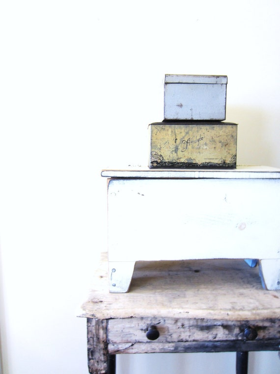 Vintage Metal Storage Box and Ephemera Lot