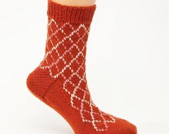 SALE PRICE: Criss Cross Hand Knit Socks Original Design
