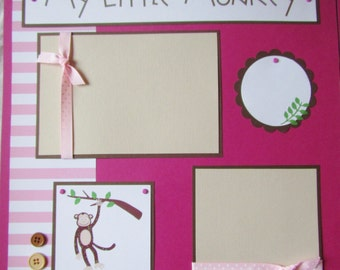 12x12 Premade Scrapbook Pages - girl layout- MY LITTLE MONKEY -- I love you, wild thing!