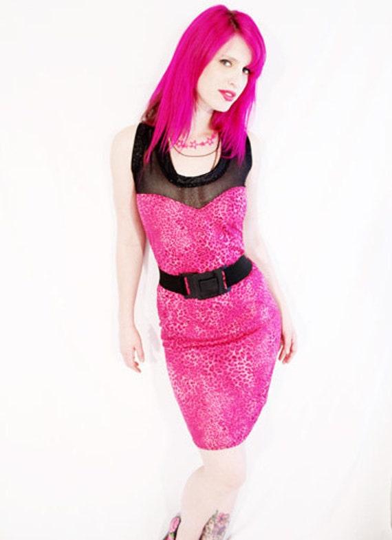Fishnet Fashionista hot pink leopard & glitter heart bust mini dress