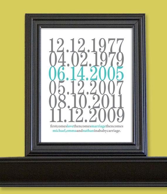 Subway Art Custom Dates - 11x14 - Love and Marriage - Family