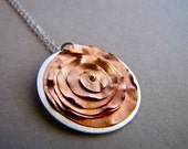 COPPER PEONY FLOWER necklace