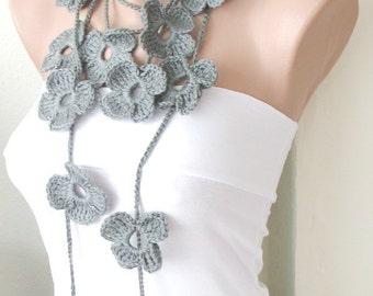 Handmade Crochet - Winter Scarf - Grey Necklace -  Flower Lariat