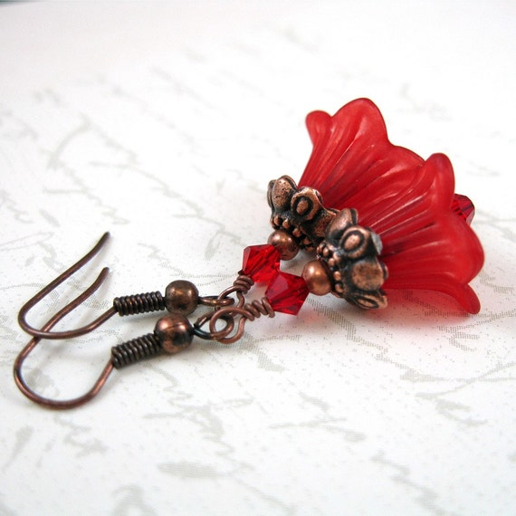 Flower Earrings, Red Lucite Flowers, Red Crystals, Copper