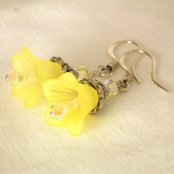 Flower Earrings - Vintage Inspired Yellow Acrylic Flower Antiqued Silver