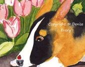 Pembroke Welsh Corgi English Ivy Tulips Ladybugs Dog Puppy Art ACEO Original Watercolor Painting