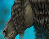 Year of the Horse ACEO Friesian Fine Art Print Black Beauty