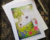 Card Unicorn with Envelope 4 x 5 1/2 Fantasy Once Upon A Time Fairytale