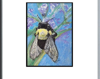 Bumble Bee Painting - Original Acrylic and Oil Pastel - ACEO - Children's room