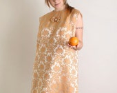 Vintage Cocktail Dress - Plus Size Floral Brocade Twiggy Dress in Light Peach