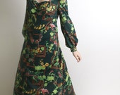 RESERVED - Vintage 1970s Maxi Dress Dark Emerald Green Botanical Floral Garden - Large - Mint Green