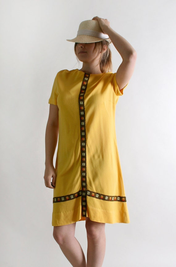 Vintage 1960s Dress - Honey Mustard Yellow with Brown Floral Trims - Medium to Large
