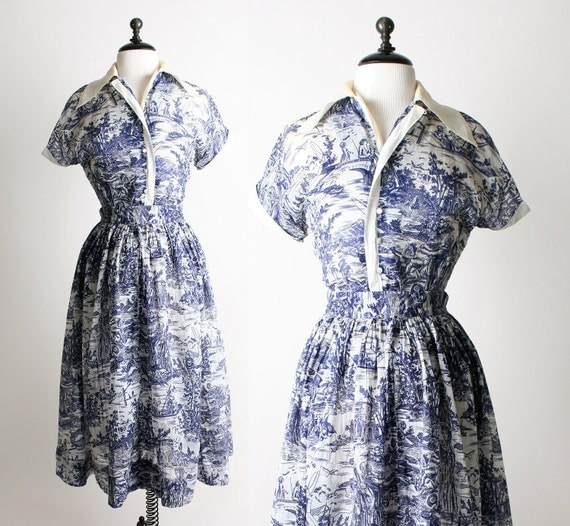 Vintage Toile Blouse and Skirt Set - Afternoon Tea Picnic In The Park Print