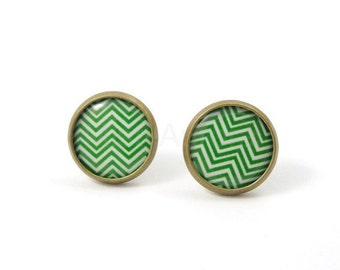 Chevron Stud Earrings,Green Earring Posts,Woodland Green Earrings,Rustic Earrings,Chevron Jewelry,Everyday Earrings (E150)