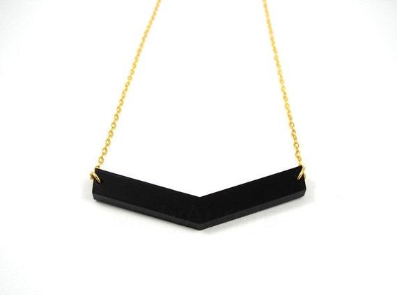 Black Chevron Necklace - Chevron Pendant Necklace - Arrow Jewelry - Geometric Jewelry