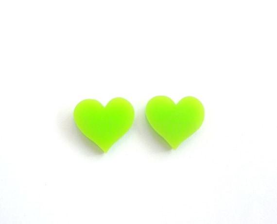 Lime Green Earrings,Heart Stud Earrings,Valentines Day,Neon Earrings,Heart Post Earrings,Cute Earrings,Neon Jewelry (E125)