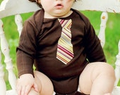 BROWN Baby BODYSUIT / LAP T  with an  Eggplant stripes  Necktie appliqué ...........Great  baby shower gift