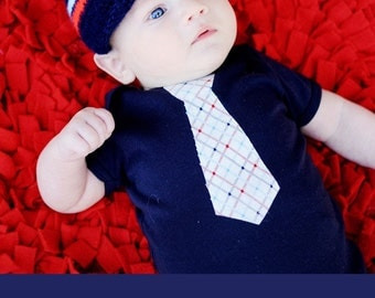 BABY BOY GIFT Set..... Nautical Necktie applique baby bodysuit and coordinating beanie...Great for pictures, church or birthday outfit
