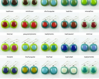 Fused Glass Earrings.  Made To Order.  Fused Glass Jewelry.  Handcut and designed in Texas.  Simple Earrings.  Everyday Jewelry.