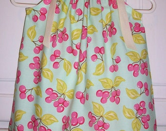 Girls Dress with Cherries, Pillowcase Dress, Aqua and Pink, Michael Miller, baby dress, infant dress, Hard to Find Fabric Pink Cherries