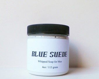 Body Washes, Whipped Soap, Blue Suede for Men, Cream Soap, Foaming Bath Whip, 4 oz Soap in a Jar by Fairy Bubbles