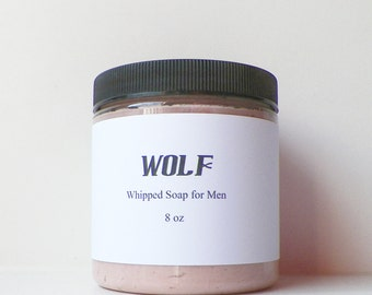 Whipped Soap, Wolf for Men, Body Wash, Cream Soap, Mens Fluffy Whip, Shaving Soap, Vegan, 8 oz Soap in a Jar, by Fairy Bubbles