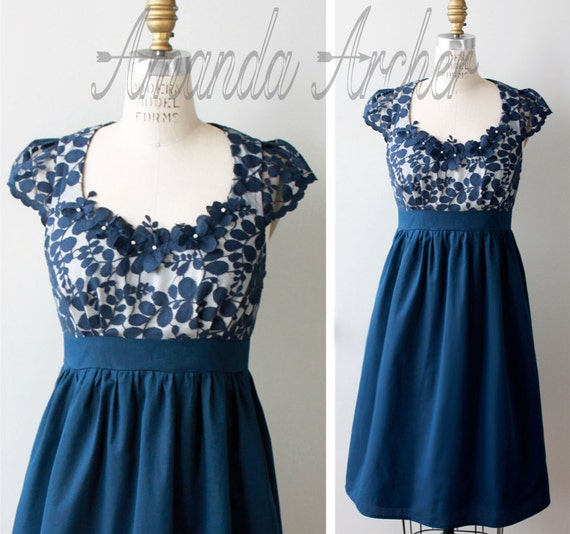 Navy Lace Dress, Bridesmaid, Made to Order