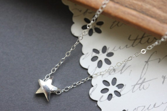 Star Necklace Sterling Silver Star Charm Necklace - Simple Everyday Necklace