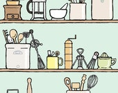 kitchen art print: spot the spurtle