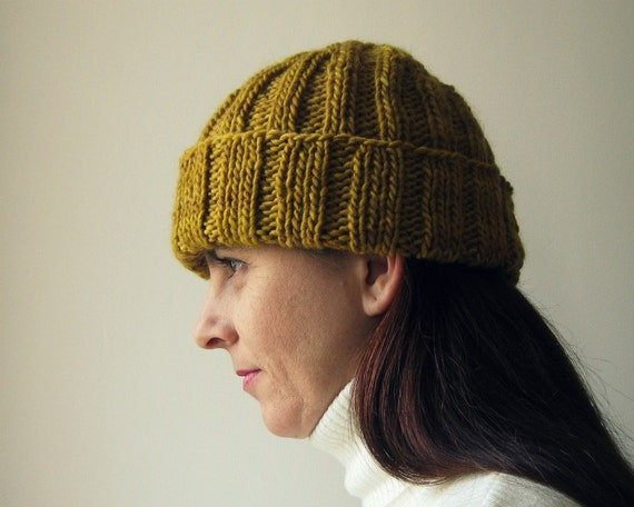 Beanie Knitted in Yellow