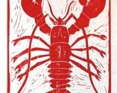 Lobster - Linocut Print