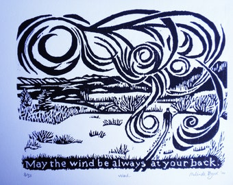 Irish Prayer Verse Woodcut of Cross Country Skier...May the Wind Be Always at your Back.