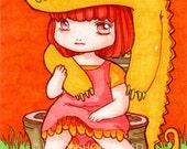 ACEO Art Print, Yellow Croc Crocodile Friend, ATC, Art Card, Archival Giclee Print, Illustration, Popart, Orange, Cute Girl, 5/25