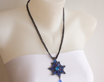 Dark Blue Long Beaded Necklace with Star Pendant of Swarovski Crystals in Sapphire Blue and Purple Beads. Victorian Style Pendant S128