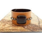 Beaded Caramel Leather Cuff Bracelet for Women, Handmade Leather Jewelry, Leather Accessories