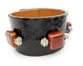 Black Snakeskin Bracelet with Red Beads, Handmade Beaded Women's Leather Jewelry, Leather Accessories