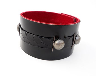Black Patent Leather Bracelet, Snakeskin with Red Leather Lining, Handmade Leather Jewelry, Women's Leather Accessories