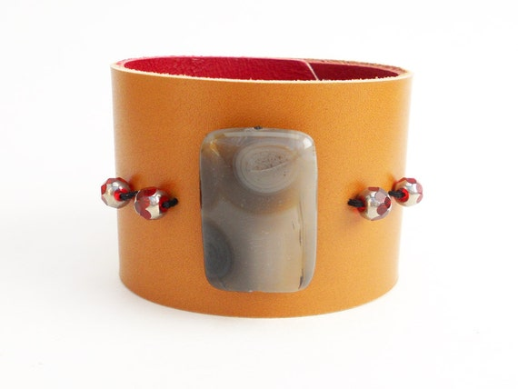Women's Beaded Caramel Leather Bracelet, Handmade Leather Jewelry, Leather Accessories