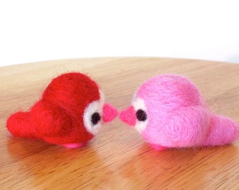 Valentines Day Needle Felted Love Birds - Pink and Red Felt Wedding Cake Toppers - Valentine Gift Decor - Made to Order