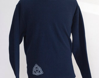 Men's Sweatshirt / Upcycled Fleece Shirt / Screen Printed Celtic Knot / Size Small