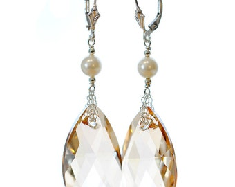 Crystal and Pearl Bridesmaid Earrings by Catherine Nicole