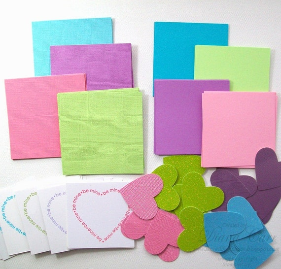 Make Your Own Valentine Cards Kit - Do it Yourself Valentine Kit - DIY Valentine's Day Cards - Mini Valentine Kit - Kids Valentine Craft Kit