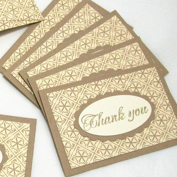 Mini Thank You Cards with Handmade Envelopes - Kraft, Tan, Ivory