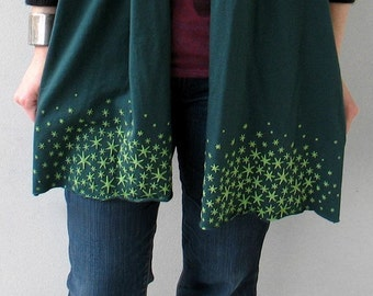 Gift for Women : Star Moss Scarf, gift for her, emerald green, stocking stuffer, gift for wife, girlfriend gift, jersey scarf, gift for mom