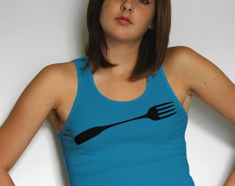 Good Luck Fork Womens Tank Top in Teal Blue, womens clothing, gif tfor foodie, gift for her, american apparel