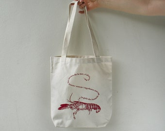 Lobster Print Canvas Tote Bag, Nerval quote,  gift for women, funny tote bag,  gift for her,  gift for teacher, teen, gift for girlfriend