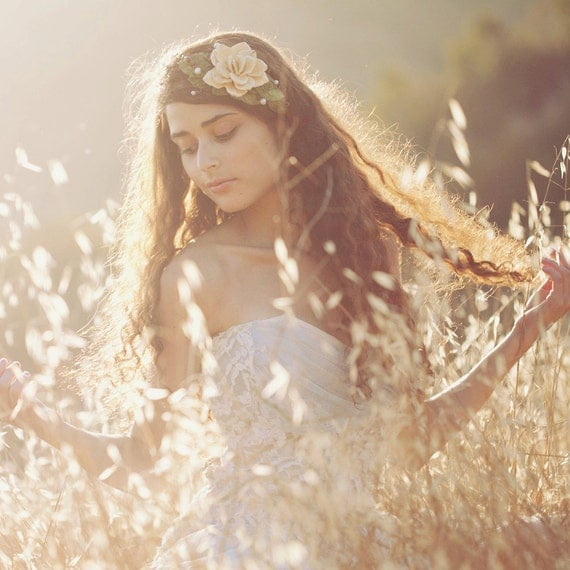 Bridal crown, wedding head wreath, Wedding head piece, Rustic flower crown, woodland bridal accessory circlet, Autumn hair crown - NYMPH