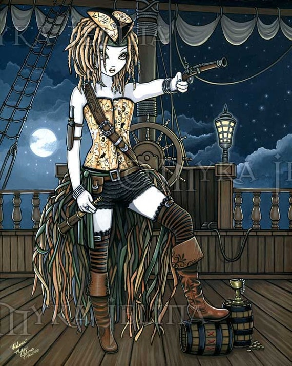 Helena Sky Pirate Ship Fae Fantasy Original Acrylic Painting